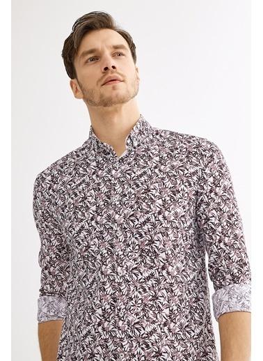 Avva Çiçek Baskılı Düğme Yaka Slim Fit Gömlek Bordo
